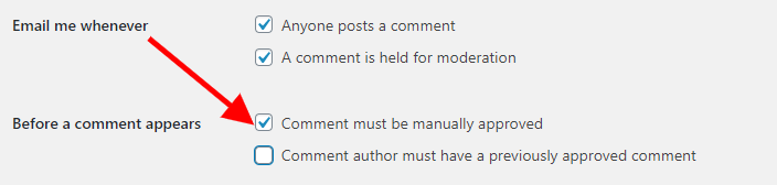 4. Enable manual approval of comments