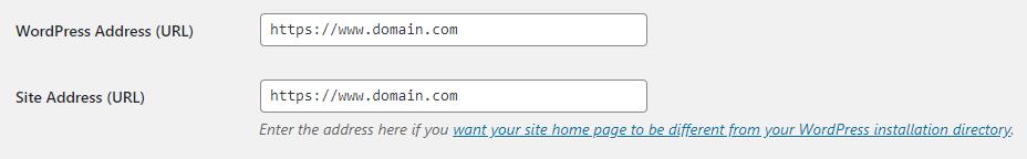 Site URL in WP Admin